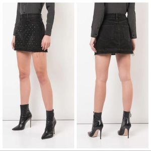 FRAME Le Mini Embellished Denim Skirt Black 25